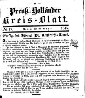 Kreisblatt des Königl. Preuss. Landraths-Amtes Preuss. Holland vom 28.04.1845