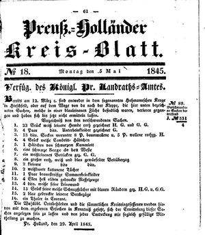 Kreisblatt des Königl. Preuss. Landraths-Amtes Preuss. Holland vom 05.05.1845