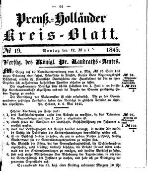 Kreisblatt des Königl. Preuss. Landraths-Amtes Preuss. Holland vom 12.05.1845