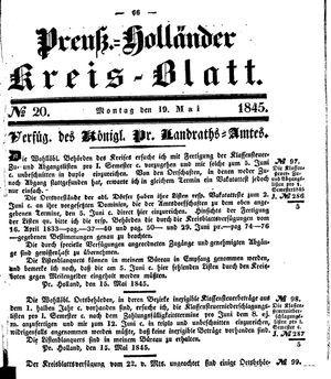 Kreisblatt des Königl. Preuss. Landraths-Amtes Preuss. Holland vom 19.05.1845