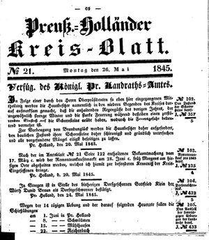 Kreisblatt des Königl. Preuss. Landraths-Amtes Preuss. Holland vom 26.05.1845