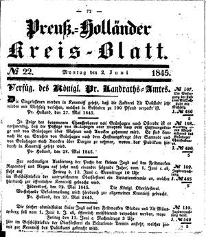 Kreisblatt des Königl. Preuss. Landraths-Amtes Preuss. Holland vom 02.06.1845