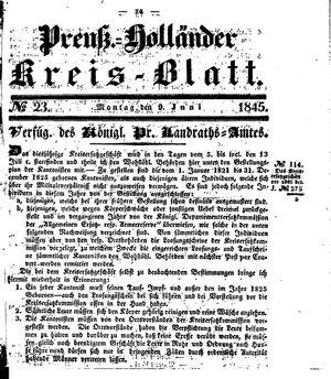 Kreisblatt des Königl. Preuss. Landraths-Amtes Preuss. Holland on Jun 9, 1845