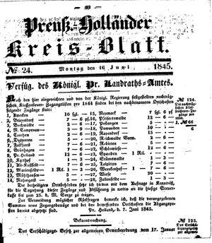 Kreisblatt des Königl. Preuss. Landraths-Amtes Preuss. Holland vom 16.06.1845