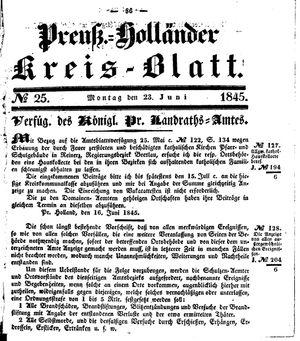 Kreisblatt des Königl. Preuss. Landraths-Amtes Preuss. Holland vom 23.06.1845