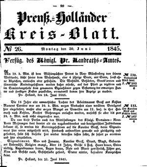 Kreisblatt des Königl. Preuss. Landraths-Amtes Preuss. Holland on Jun 30, 1845