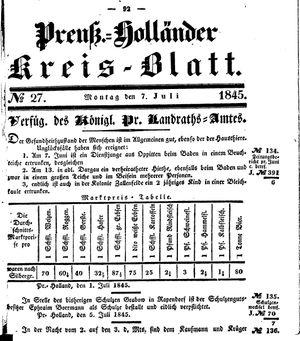 Kreisblatt des Königl. Preuss. Landraths-Amtes Preuss. Holland vom 07.07.1845