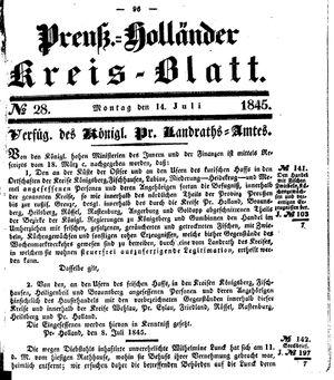 Kreisblatt des Königl. Preuss. Landraths-Amtes Preuss. Holland vom 14.07.1845