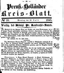 Kreisblatt des Königl. Preuss. Landraths-Amtes Preuss. Holland (21.07.1845)