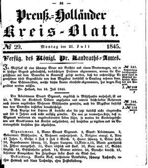 Kreisblatt des Königl. Preuss. Landraths-Amtes Preuss. Holland vom 21.07.1845