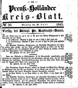 Kreisblatt des Königl. Preuss. Landraths-Amtes Preuss. Holland vom 28.07.1845