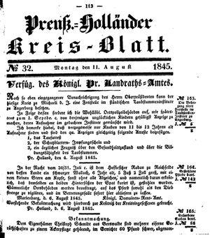 Kreisblatt des Königl. Preuss. Landraths-Amtes Preuss. Holland vom 11.08.1845
