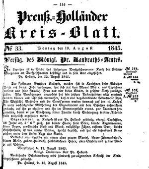 Kreisblatt des Königl. Preuss. Landraths-Amtes Preuss. Holland vom 18.08.1845