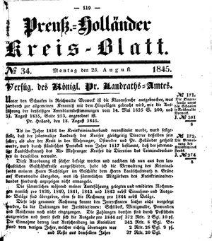 Kreisblatt des Königl. Preuss. Landraths-Amtes Preuss. Holland vom 25.08.1845