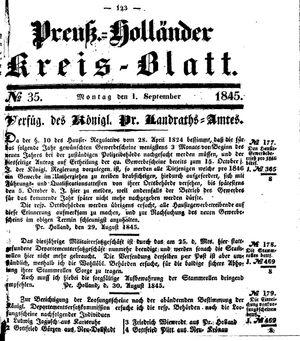Kreisblatt des Königl. Preuss. Landraths-Amtes Preuss. Holland vom 01.09.1845