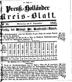 Kreisblatt des Königl. Preuss. Landraths-Amtes Preuss. Holland vom 08.09.1845