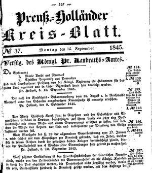 Kreisblatt des Königl. Preuss. Landraths-Amtes Preuss. Holland vom 15.09.1845