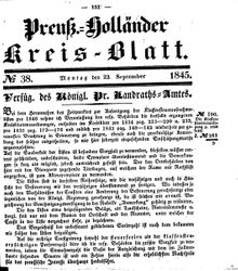 Kreisblatt des Königl. Preuss. Landraths-Amtes Preuss. Holland (22.09.1845)