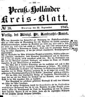Kreisblatt des Königl. Preuss. Landraths-Amtes Preuss. Holland vom 22.09.1845