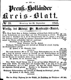 Kreisblatt des Königl. Preuss. Landraths-Amtes Preuss. Holland vom 29.09.1845