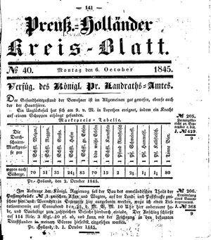 Kreisblatt des Königl. Preuss. Landraths-Amtes Preuss. Holland vom 06.10.1845