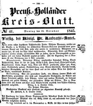 Kreisblatt des Königl. Preuss. Landraths-Amtes Preuss. Holland vom 13.10.1845