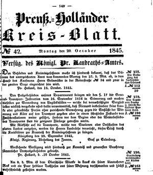 Kreisblatt des Königl. Preuss. Landraths-Amtes Preuss. Holland vom 20.10.1845