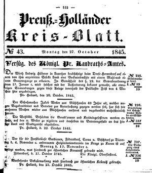 Kreisblatt des Königl. Preuss. Landraths-Amtes Preuss. Holland vom 27.10.1845
