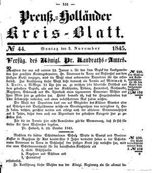 Kreisblatt des Königl. Preuss. Landraths-Amtes Preuss. Holland vom 03.11.1845