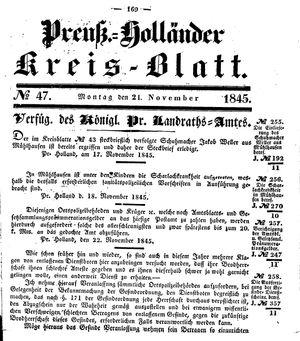 Kreisblatt des Königl. Preuss. Landraths-Amtes Preuss. Holland vom 24.11.1845