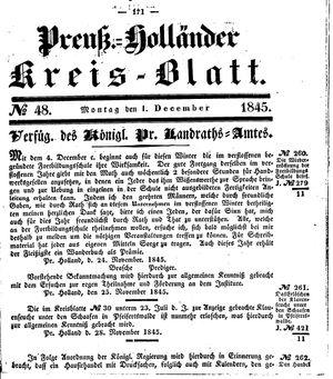 Kreisblatt des Königl. Preuss. Landraths-Amtes Preuss. Holland vom 01.12.1845