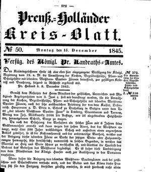 Kreisblatt des Königl. Preuss. Landraths-Amtes Preuss. Holland vom 15.12.1845