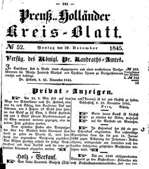 Kreisblatt des Königl. Preuss. Landraths-Amtes Preuss. Holland on Dec 29, 1845