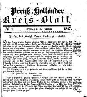 Kreisblatt des Königl. Preuss. Landraths-Amtes Preuss. Holland vom 04.01.1847