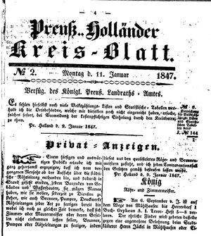 Kreisblatt des Königl. Preuss. Landraths-Amtes Preuss. Holland vom 11.01.1847