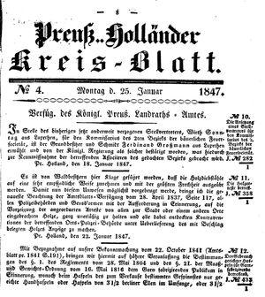Kreisblatt des Königl. Preuss. Landraths-Amtes Preuss. Holland vom 25.01.1847
