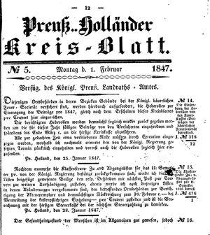 Kreisblatt des Königl. Preuss. Landraths-Amtes Preuss. Holland vom 01.02.1847