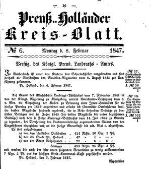 Kreisblatt des Königl. Preuss. Landraths-Amtes Preuss. Holland vom 08.02.1847