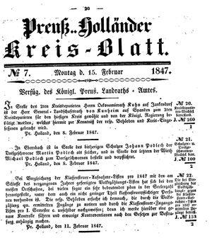 Kreisblatt des Königl. Preuss. Landraths-Amtes Preuss. Holland vom 15.02.1847