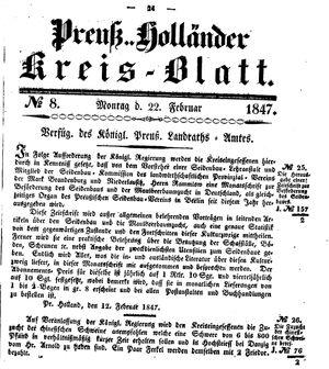 Kreisblatt des Königl. Preuss. Landraths-Amtes Preuss. Holland vom 22.02.1847