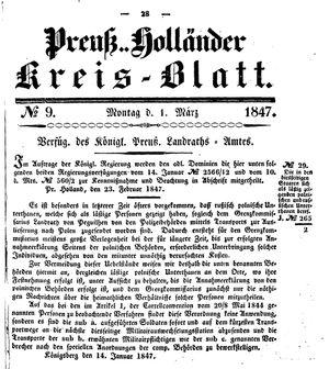 Kreisblatt des Königl. Preuss. Landraths-Amtes Preuss. Holland vom 01.03.1847