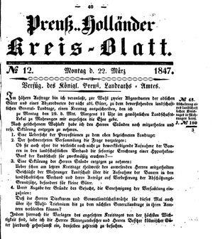 Kreisblatt des Königl. Preuss. Landraths-Amtes Preuss. Holland vom 22.03.1847