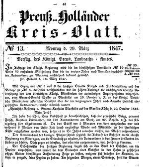 Kreisblatt des Königl. Preuss. Landraths-Amtes Preuss. Holland vom 29.03.1847