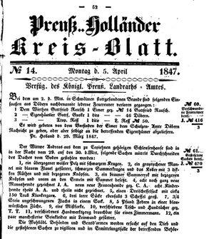 Kreisblatt des Königl. Preuss. Landraths-Amtes Preuss. Holland vom 05.04.1847