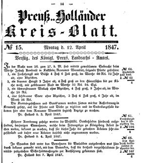 Kreisblatt des Königl. Preuss. Landraths-Amtes Preuss. Holland vom 12.04.1847