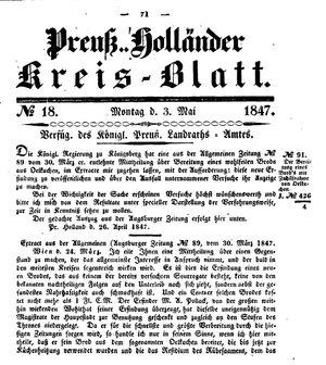 Kreisblatt des Königl. Preuss. Landraths-Amtes Preuss. Holland vom 03.05.1847
