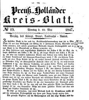 Kreisblatt des Königl. Preuss. Landraths-Amtes Preuss. Holland vom 10.05.1847
