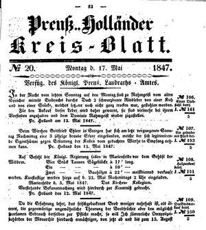 Kreisblatt des Königl. Preuss. Landraths-Amtes Preuss. Holland vom 17.05.1847