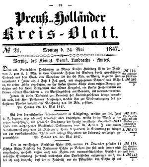 Kreisblatt des Königl. Preuss. Landraths-Amtes Preuss. Holland on May 24, 1847