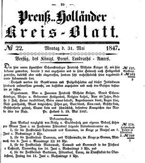 Kreisblatt des Königl. Preuss. Landraths-Amtes Preuss. Holland vom 31.05.1847